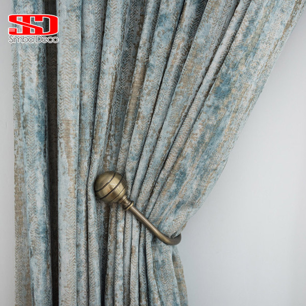 best selling Chenille Jacquard Curtains for Living Room Retro Shiny Drapes for Bedroom High-Grade Window Treatments Single Panel