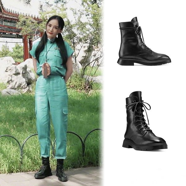 Top Cowhide Poplar Power Same Martin Boots Woman SW Shoes True Leather British Wind Autumn and Winter 2019
