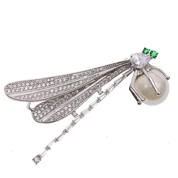 Korean version of the high-end women's wild pearl brooch copper micro-inlaid zircon dragonfly brooch fashion exquisite ladies accessories