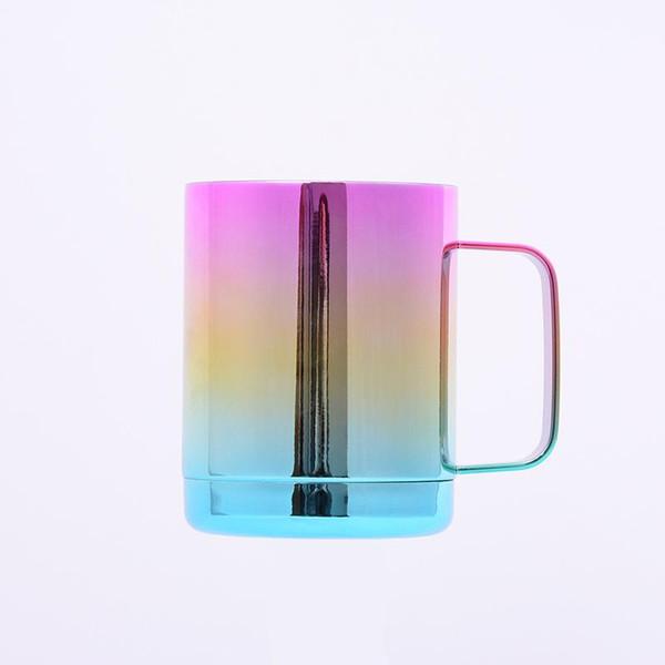 Regenbogen Griff Tasse kalt Konservierung Becher Edelstahl Tumbler Farbverlauf Beständigkeit gegen Herbst Geburtstagsgeschenk Kreative 33my C1