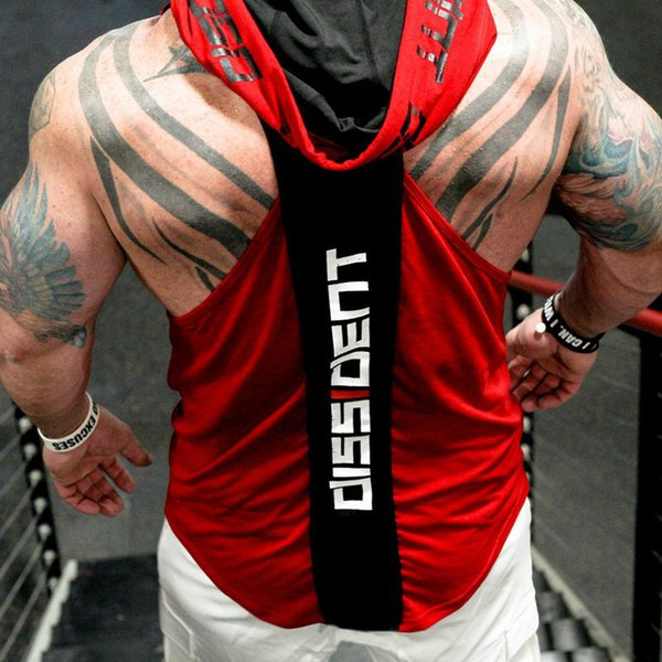 Bodybuilding Stringer Tank Top With Hooded Gyms Clothing Fitness Mens Sleeveless Vests Cotton Singlets Muscle Sports Vest Q190517