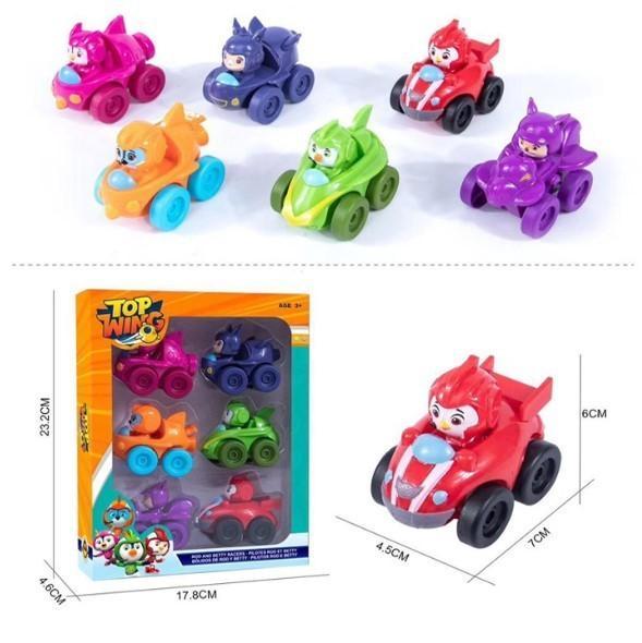 Hot 6 pçs / set Top Asa Figura de Ação Toy Set Bonecas Meninos Meninas de Volta Do Carro Voando Aventura Aeronave Topwing Para Amigos Y19051804