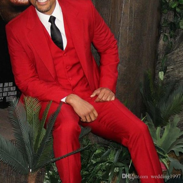Red Formal Men Suits for Evening Prom Party Suit Three Piece Jacket Pants Waistcoat Wedding Groom Tuxedos 2019 Custom Blazer