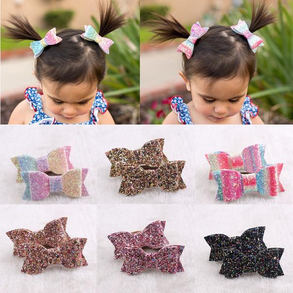 Bebek kızlar bow-düğüm Pullu Hairbands Çocuklar gökkuşağı Yay Saç halka Çocuk Şapkalar Butik Yenidoğan saç aksesuarları 18 renkler Saç ropeC5731