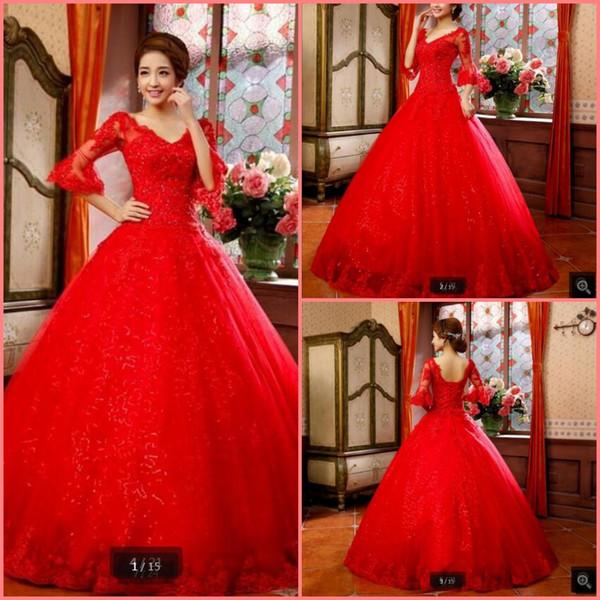 fb55a91adc4d831 Vestido de Noiva 2019 новое дизайнерское бальное платье красное свадебное  платье с кружевными аппликациями 3/