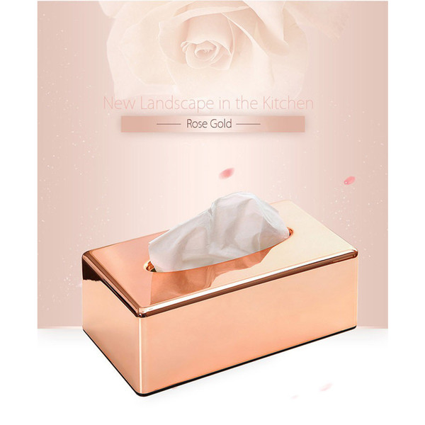 Tissue Box Dustproof Smooth Surface Solid Desk ABS Plated Paper Organizers Square Decorations Car Home Antimoisture Waterproof