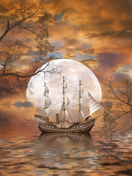 5x7FT Оранжевый Закат Облака Небо Пиратский Корабль Парус Реки Филиал Пользовательские Фотостудия Фон Фон Винил 220 см х 150 см