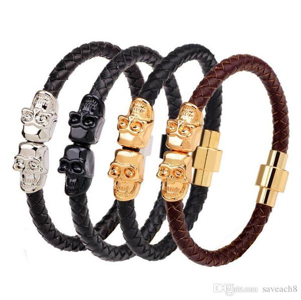 Black Genuine Leather Double Skeleton Skull Charm bracelet For Men gift Magnet Punk Rock jewelry 2018 New bangle