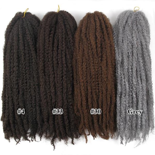 Tresses de cheveux synthétiques d'ombre de Marley pour les femmes Kinky Twist Crochet de cheveux en vrac / Afro Twist Kinky tresses / Afro Curl Braley Tresse