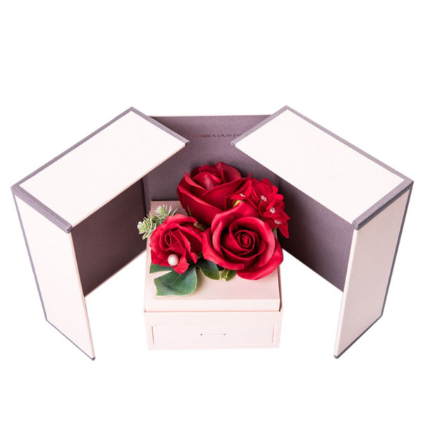 artificial rose flower jewelry box scented soap necklace holder birthday gift for girls romantic valentine's day wedding flower