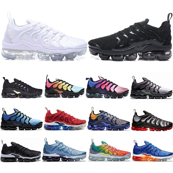 2019 New TN Plus Running Shoes Men Women Game Royal Rainbow bleached aqua TRIPLE WHITE BLACK Fades Blue VOLT Trainer Designer Sneakers 36-45