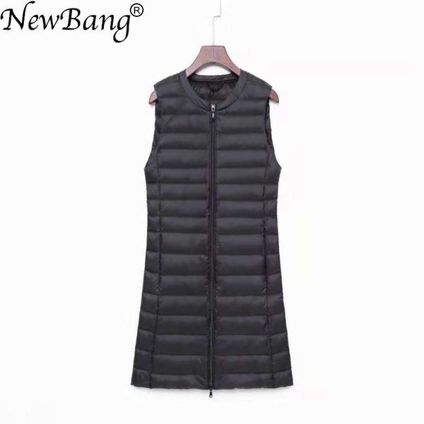 NewBang Matt Fabric Ultra Light Down Women's Vest Sleeveless White Duck Down Vest Women Long Warm Vests Windproof Waitcoat