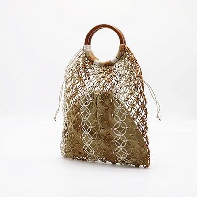 Hollow Out Paper Rope Wooden Handle Straw Bags for Women Large Capacity Beach Bags Handmade Rattan Bag Bohemian Knitting Tote