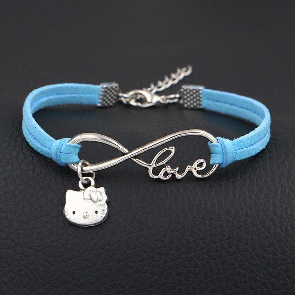 Alta qualità moda argento placcato Infinity Love Hello Kitty Cat Charm in pelle scamosciata blu Bracciali donna uomo gioielli fatti a mano accessori