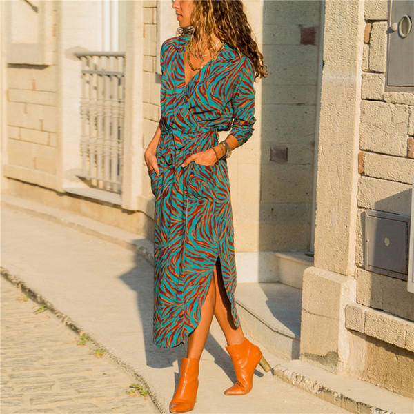 Femmes Robe Longue Imprimé Floral D'été Maxi En Mousseline De Soie Robe De Plage Élégant Fête À Manches Longues Chemise De Bureau Vestidos Longo