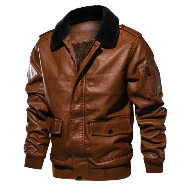 Abrigo de solapa para hombre Cuello de piel Bolsillo de cuero Chaqueta voladora Tactical Outwear Abrigo Chaquetas Marca de moda de alta calidad 2xl
