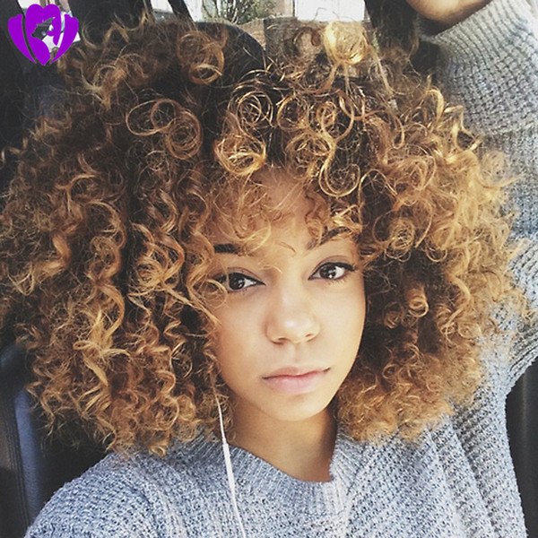 Celebrity style brown roots ombre blonde Synthetic Curly Wigs with bangs for Women Ombre Short Afro Wig African American beyouce hair