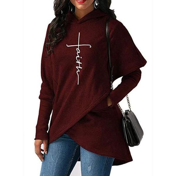 Women Fashion Hoodies Brand Letter Printing Hooded Sweatshirts Womens Designer Long Sleeve Shirt Irregular Faith Hooded Tops