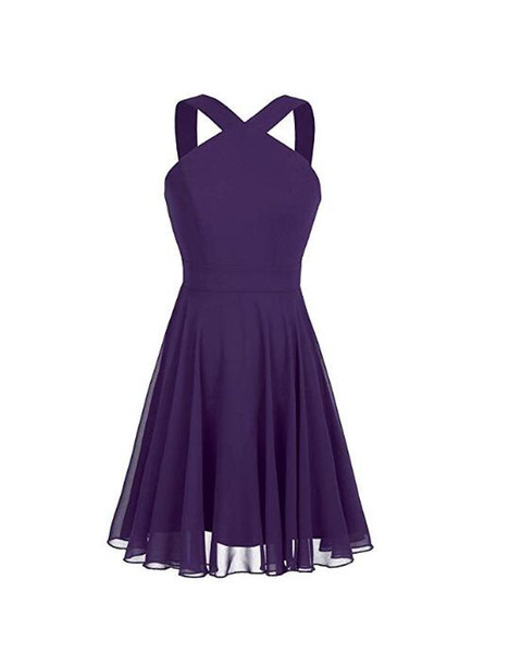 Womens Chiffon Wide Shoulder Straps Criss-Cross Straps Evening Party Prom Gown Bridesmaid Short Dress