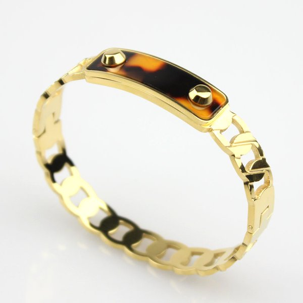 Fashion Screw nail Bangles setting Enamel Yellow Gold plated men bracelets bangle howllow out for male fit wrist perimter 16.5-18.0cm