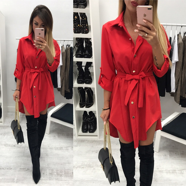 1c0be931aa4 Irregular tie waist shirt dress Women autumn 2019 wrap dress Long sleeve  turn down collar Army green red short mini dresses