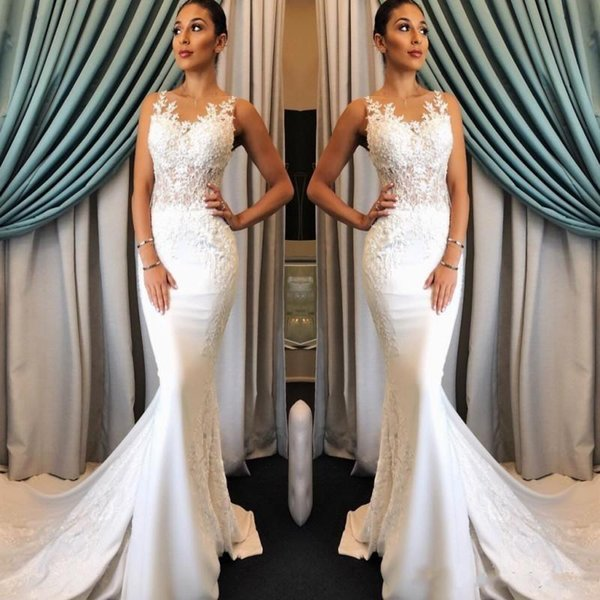 2019 Cheap Mermaid Beach Wedding Dresses Jewel Neckline Sleeveless Lace Appliqued Sweep Train Long Bridal Gowns Custom Made