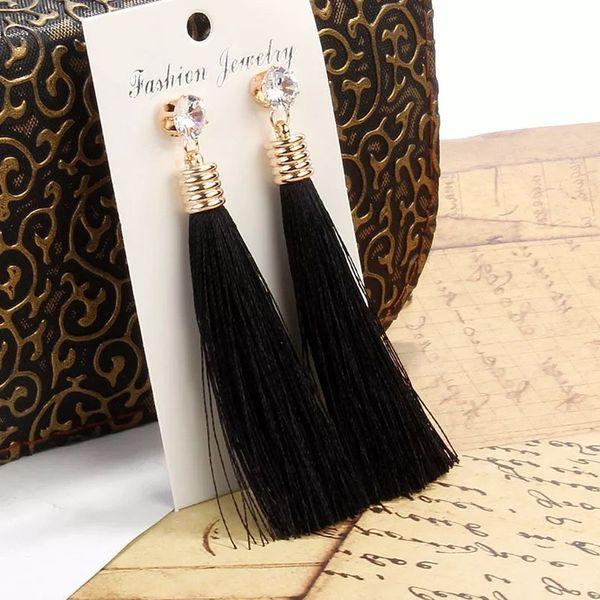 Moda Bohemia pendientes largos de la borla brillantes Rhinestones Fringe gota del oído Vintage pendientes étnicos 10 colores mujeres joyería