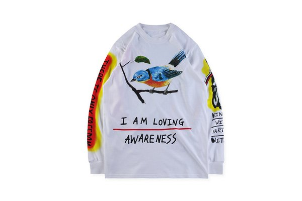 KANYE WEST WES LANG T-SHIRT Mens Spring SKULL BIRD Printed Long Sleeved Tops