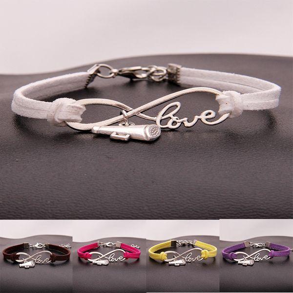New Cheer leader horn Charm Sports Wish Bracelets infinity Love Velvet Rope Wrap Bangle For women Men Fashion Luxury Jewelry Gift
