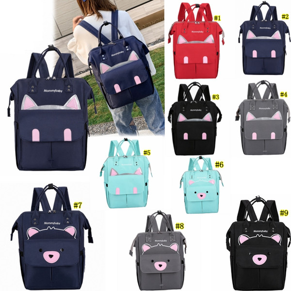 Mummy Maternity Nappy Bag Cute Cat Large Capacity Baby Bag Travel Backpack Desinger for Baby Care bag LJJM2116