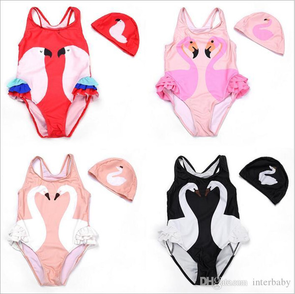 Girl Bikini INS Flamingo Swimwear Swan Parrot Swimsuits Cartoon Printed Bathing Suits Swimming Caps Kid Beachwear Baby Clothing Sets BYP4162