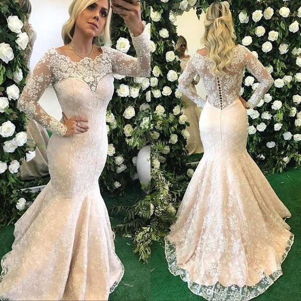 Elegante Sheer Vintage mangas compridas Vestidos de noiva sereia 2018 New Lace frisada Modest Illusion vestidos de noiva Voltar vestidos de casamento