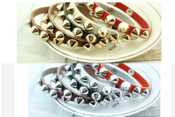 Gothic Punk Metal Cone Stud Spikes Rivet Leather Bracelet Wristband Cuff Bangle Cool Men Women Multilayer Bracelet