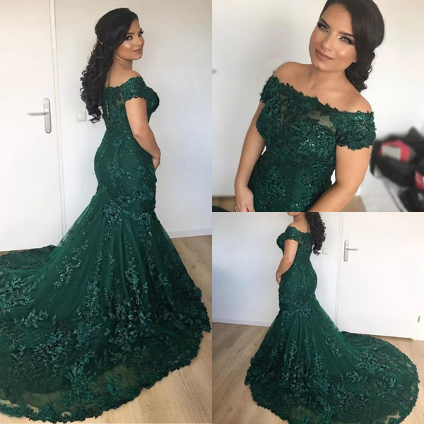 Vintage Off Shoulder Emerald Green Mermaid Evening Dresses Arabic African Lace Prom Dress Sequined Appliques Long Lace Up Party Dresses Evening