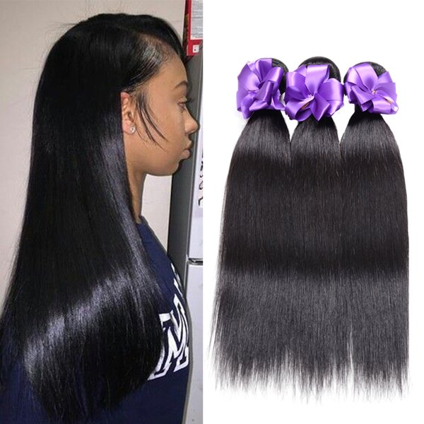 Straight Hair 1 Bundles Brazilian Malaysia Peruvian Indian Hair Weave Bundles 100% Human Hair 8-30 Inch Virgin Wefts Extensions