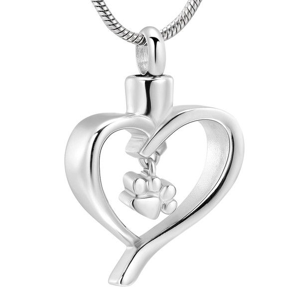 ZZL048 Pet Paw Print Heart Cremation Pendant Stainless Steel Keepsake Necklace Ashes Urn for Dog/Cat Memorial Women Jewelry