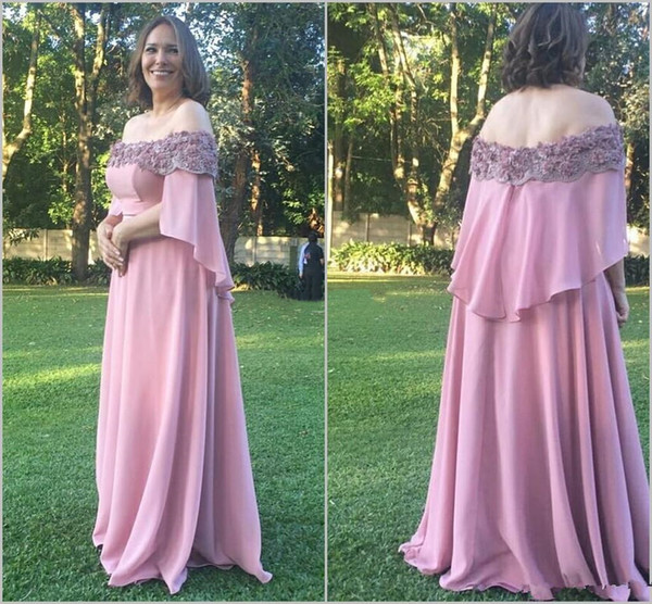 Pink Plus Size Mother of The Bride Dresses 2019 Off Shoulder Lace Floral Women Formal Wedding Party Guest Mother Groom Gown