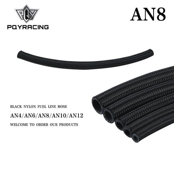 top popular PQY - 8 AN Pro's Lite Black Nylon Racing Hose Fuel Oil Line 350 PSI 0.3M PQY7313-1 2021