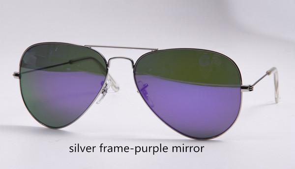 espelho de moldura de prata-roxo