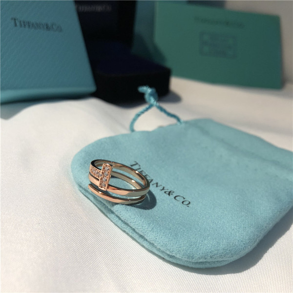 Anillos de diamantes de marca T anillo ajustable doble T regalo de amor joyería de diseño 925 plata esterlina oro rosa compromiso boda con caja