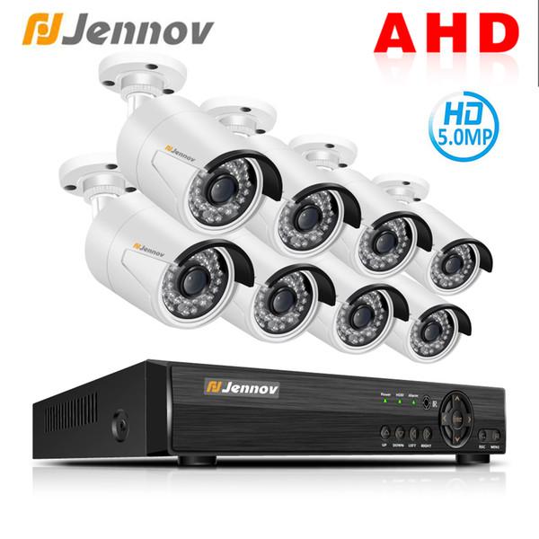 Jennov 8CH 5MP HD AHD Camera DVR Kit Security Camera System CCTV Set Video Surveillance System P2P Night Vision IP Waterproof