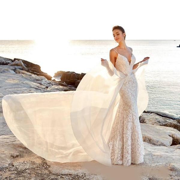 2019 Robes de mariée bohémiennes en dentelle avec sirène élégante avec train détachable Robe de mariée dos nu à la plage Balayage paillettée Boho robes de mariée