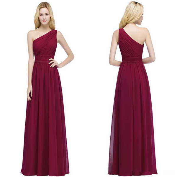 Chiffon One Shoulder Bridesmaid Dresses with Pleats 2019 Beach Wedding Party Dress Burgundy Maxi Dresses for women
