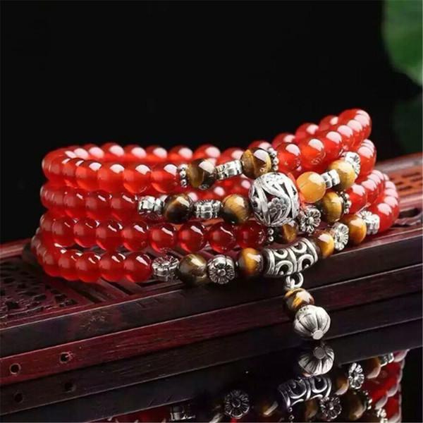 6mm Natural Ágata Vermelha 108 Contas Pulseiras com Olho de Tigre Amarelo Pedra Beads Moda Mulheres Oração Pulseiras Yoga Presente Atacado