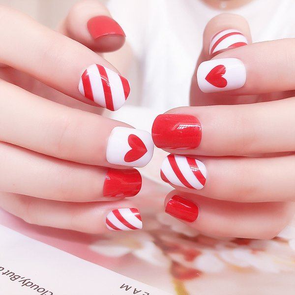 B72 Fake Nail Patch Red Heart Love Fashion 22g Full Cover Short ...