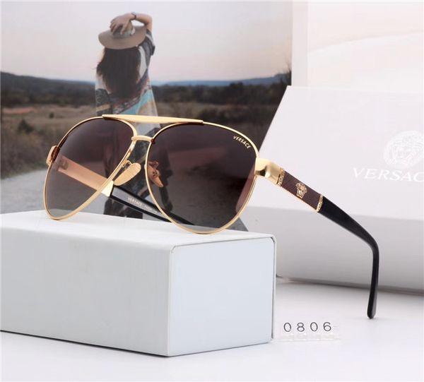 Designer Occhiali da sole da uomo placcati in film colorato di qualità, occhiali da sole da guida con montatura in metallo, occhiali da esterno a 400 ellissi con scatola-gqh