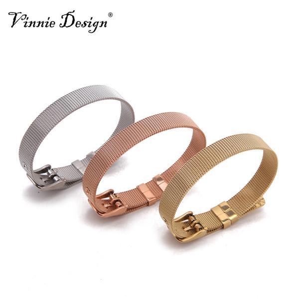 Vinnie Design Jóias Em Aço Inoxidável Guardião Wrap Pulseiras Em Ouro Rosa, prata, pulseira de malha de ouro para encantos de slides 10 pçs / lote J190721