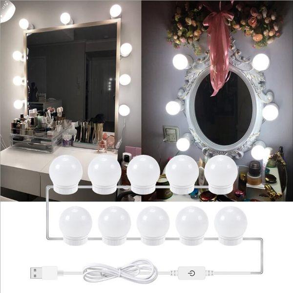 LED USB Makyaj Aynası Ampul Hollywood Vanity Işıkları Kademesiz Dim Duvar Lambaları 6 10 14 Ampuller Kiti Tuvalet Masası banyo Tuvalet
