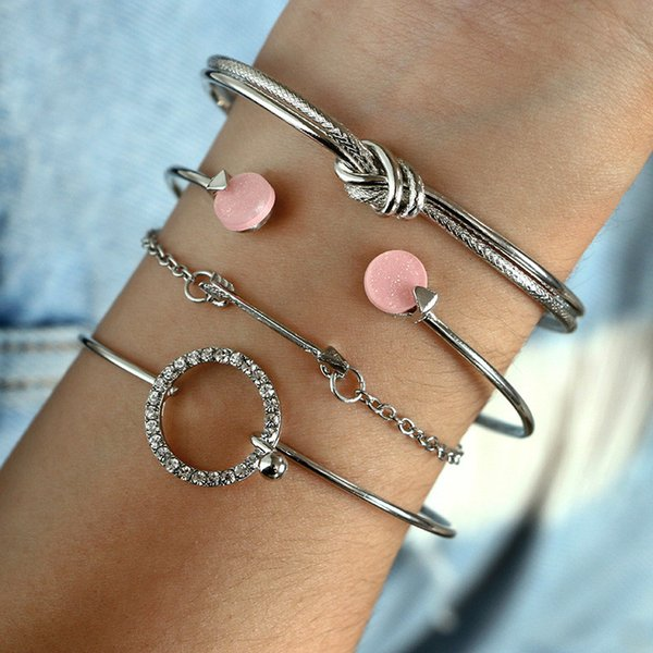 New Fashion Silver Gold Color Zircon Round Circle Knot Pink Crystal Open Cuff Bangles Bracelet Sets For Women Arrow Chain 4Pcs Jewelry Set