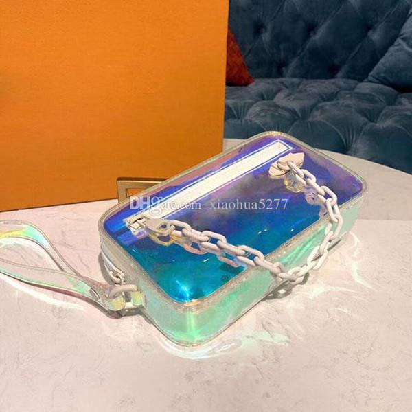 Moda y calidad 2019 PVC transparente para mujer y deslumbrante Verano Hot Sexy bolso de mano Bolsos de diseño size21cm Caja original